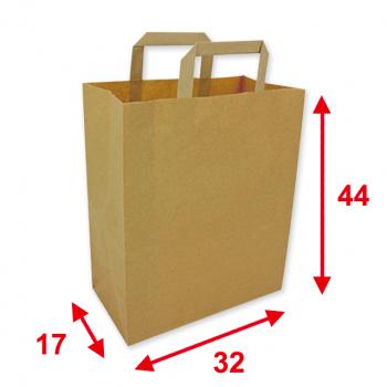 Papiertragetaschen braun, 32 x 17 x 44 cm, Tragkraft ca. 9 kg, Karton à 250 Stück