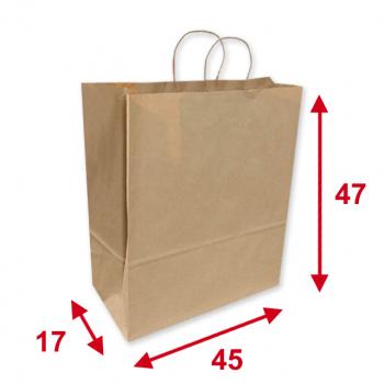 Papiertragetaschen braun, 45 x 17 x 47 cm, Tragkraft ca. 10 kg, Karton à 150 Stück