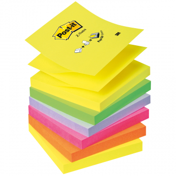 Post-it Z-Notes Neonfarben 76 mm x 76 mm, Pack à 6 x 100 Blatt