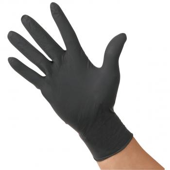 Latex-Einweghandschuhe puderfrei schwarz, Grösse M, Box à 100 Stück