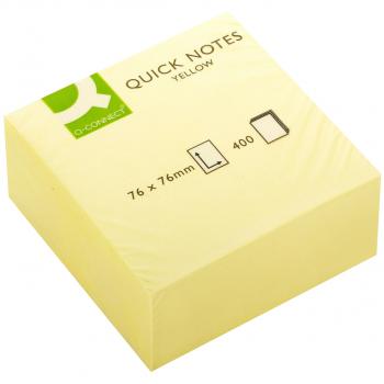 Q-Connect Haftnotizwürfel gelb 76 mm x 76 mm mit 400 Blatt