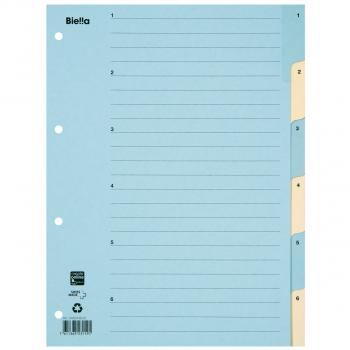 Biella Kartonregister 1 - 6, 6-teilig, blau