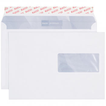 ELCO Briefumschläge Premium C5 229 x 162 mm, hochweiss, Fenster rechts, Pack à 500 Stück
