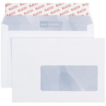 ELCO Briefumschläge Premium C6 162 x 114 mm, hochweiss, Fenster rechts, Pack à 500 Stück