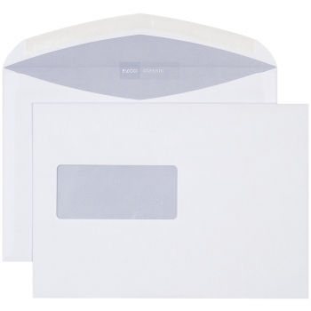 ELCO Briefumschläge Classic C5 229 x 162 mm, weiss , Fenster links, gummiert, Pack à 500 Stück