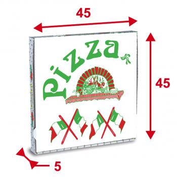 Pizzaschachteln 45 x 45 x 5 cm mit Motiv, Pack à 100 Stück