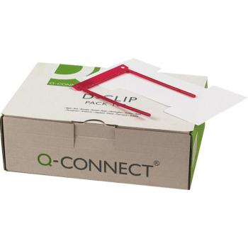 Q-Connect Registratursysteme D-Clip, Fassungsvermögen ca. 8cm, inkl. Etikette, Pack zu 100 Stück