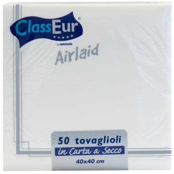 Airlaid Servietten weiss/silber, 40 x 40 cm, 1/4 Falz, Pack à 50 Stück