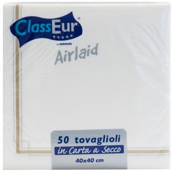 Airlaid Servietten weiss/gold, 40 x 40 cm, 1/4 Falz, Pack à 50 Stück