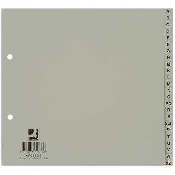 Q-Connect Kunststoff-Register A - Z, 24-teilig, grau, halbe Höhe