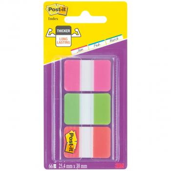 Post-it Index Strong Haftstreifen pink, grün, orange, Pack à 3 x 22 Stück
