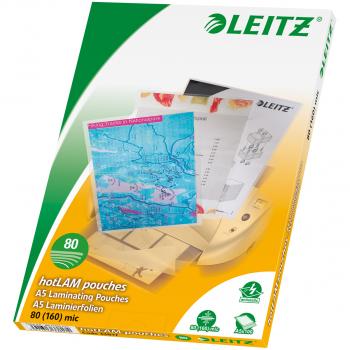 100 LEITZ Laminiertaschen für Format A5 (154 x 216 mm), 2 x 80 Mikron