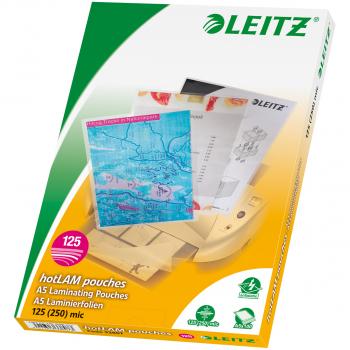 100 LEITZ Laminiertaschen für Format A5 (154 x 216 mm), 2 x 125 Mikron