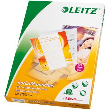100 LEITZ Laminiertaschen für Format A4 (216 x 303 mm), 2 x 125 Mikron