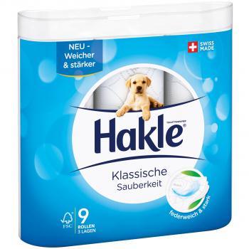 Toilettenpapier Hakle 3-lagig, hochweiss, 9.8 x 12 cm, Pack à 9 Rollen
