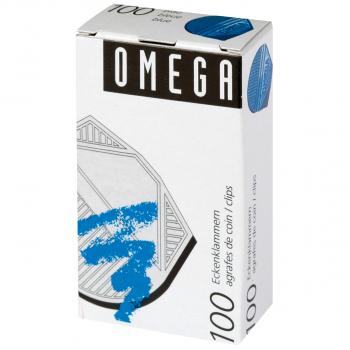 OMEGA Eckenklammern, blau, Pack à 100 Stück