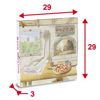 Pizzaschachteln 29 x 29 x 3 cm, Modell Americano, Pack à 100 Stück