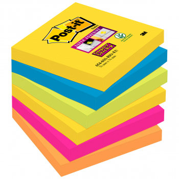 Post-it Haftnotizen Super Sticky multicolor 76 mm x 76 mm, Pack à 6 x 90 Blatt