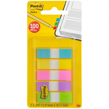 Post-it Index Mini Haftstreifen türkis, gelb, pink, lila, limonengrün, Pack à 5 x 20 Stück