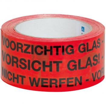 Warnband mit Aufdruck Vorsicht Glas