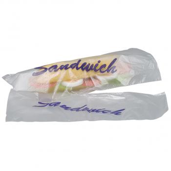 Sandwichbeutel aus perforierter Kunststofffolie, transparent mit Aufdruck, Karton à 1'000 Stück