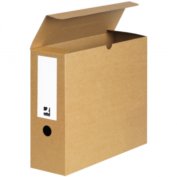 Archivschachteln Q-Connect braun, für A4, 104x283x329mm, mit Etikette + Griffloch, Pack zu 5 Stück