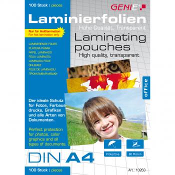 100 GENIE Laminiertaschen für Format A4 (216 x 303 mm)