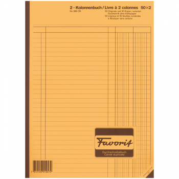 Favorit 2 Kolonnen-Durchschreibebuch, weiss/weiss, nummeriert