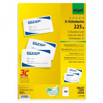 sigel Visitenkarten, 225 g/m², Pack à 100 Stück