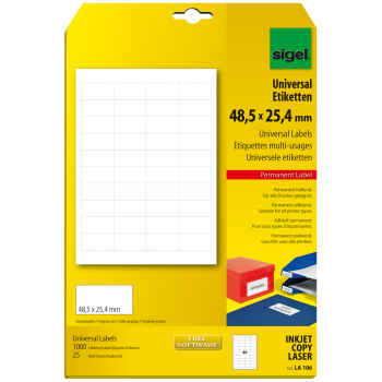 sigel Universaletiketten 48.5 x 25.4 mm, Pack à 1'000 Stück