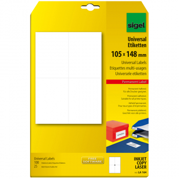 sigel Universaletiketten 105 x 148 mm, Pack à 100 Stück