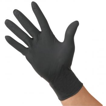 Nitril-Einweghandschuhe puderfrei schwarz, Grösse XL, Box à 100 Stück
