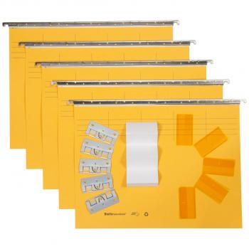 Biella Original Hängemappen inkl. Zubehör, gelb, Pack à 5 Stück
