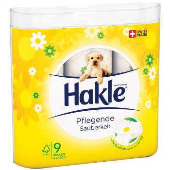Toilettenpapier Hakle 4-lagig, hochweiss, 9.8 x 12 cm, Pack à 9 Rollen