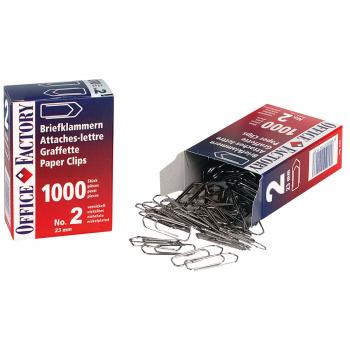 Office Factory Briefklammern No. 2, Pack à 1'000 Stück