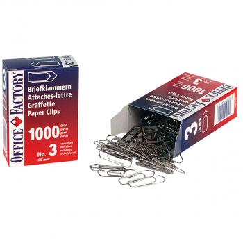 Office Factory Briefklammern No. 3, Pack à 1'000 Stück