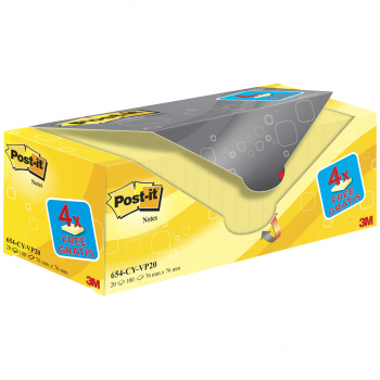 Post-it Haftnotizen gelb 76 mm x 76 mm, Pack à 20 x 100 Blatt