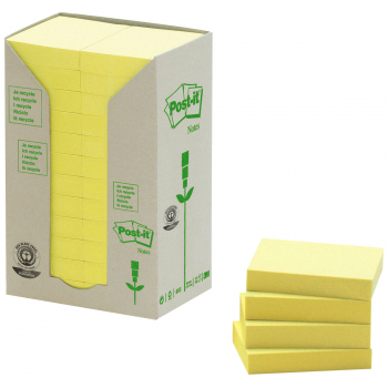 Post-it Recycling-Haftnotizen gelb 38 mm x 51 mm, Pack à 24 x 100 Blatt