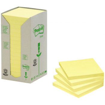 Post-it Recycling-Haftnotizen gelb 76 mm x 76 mm, Pack à 16 x 100 Blatt