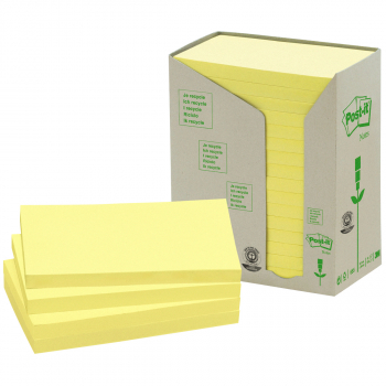 Post-it Recycling-Haftnotizen gelb 76 mm x 127 mm, Pack à 16 x 100 Blatt