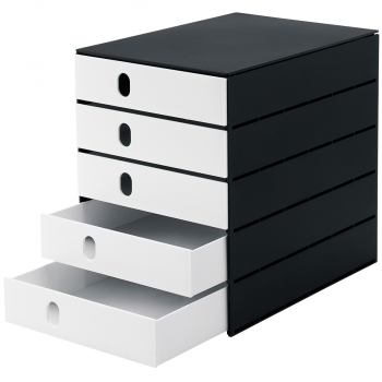 styro Schubladenbox styroval pro mit 5 geschlossen Schubladen, schwarz/weiss