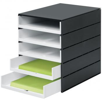 styro Schubladenbox styroval pro mit 5 offenen, schwarz/weiss