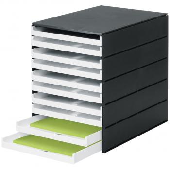 styro Schubladenbox styroval pro mit 10 geschlossenen, schwarz/weiss
