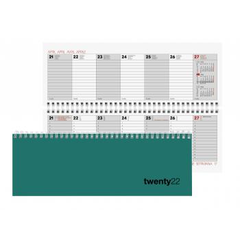 Biella Pultagenda Colorful 2022, 29.7 x 10.5 cm, petrol, 1 Woche auf 2 Seiten, viersprachig