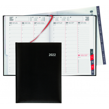 Biella Geschäftsagenda Orario 2022, 17.8 x 23.5 cm, schwarz, 1 Woche auf 2 Seiten, viersprachig