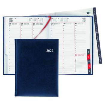 Biella Geschäftsagenda Colorful 2022, 14.5 x 20.5 cm, blau, 1 Woche auf 2 Seiten, viersprachig