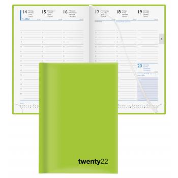 Biella Geschäftsagenda Colorful 2022, 14.5 x 20.5 cm, hellgrün, 1 Woche auf 2 Seiten, viersprachig