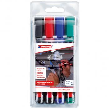 edding Permanent Marker 300 im 4er-Etui, schwarz, rot, blau, grün