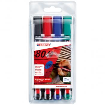 edding Permanent Marker 330 im 4er-Etui, schwarz, rot, blau, grün