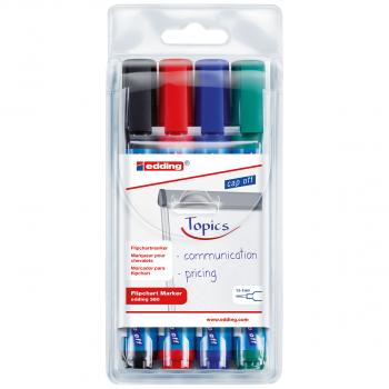 edding Flipchart Marker 380 im 4er-Etui, schwarz, rot, blau, grün